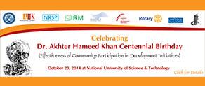 Akhter Hameed Khan Centennial Celebrations