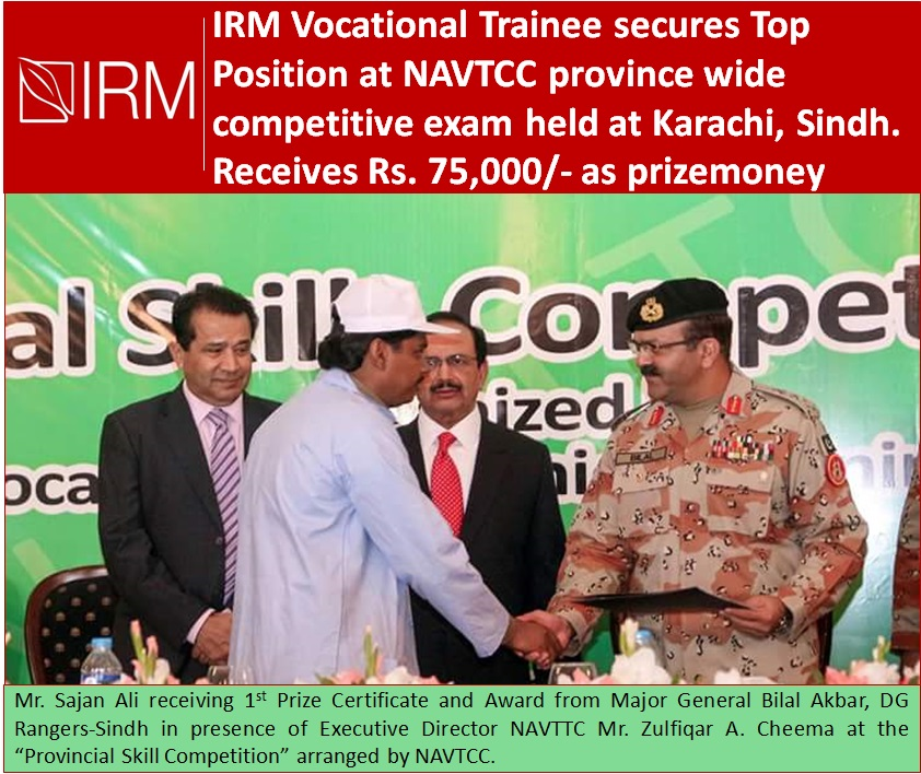 IRM Trained participant secures 1st position