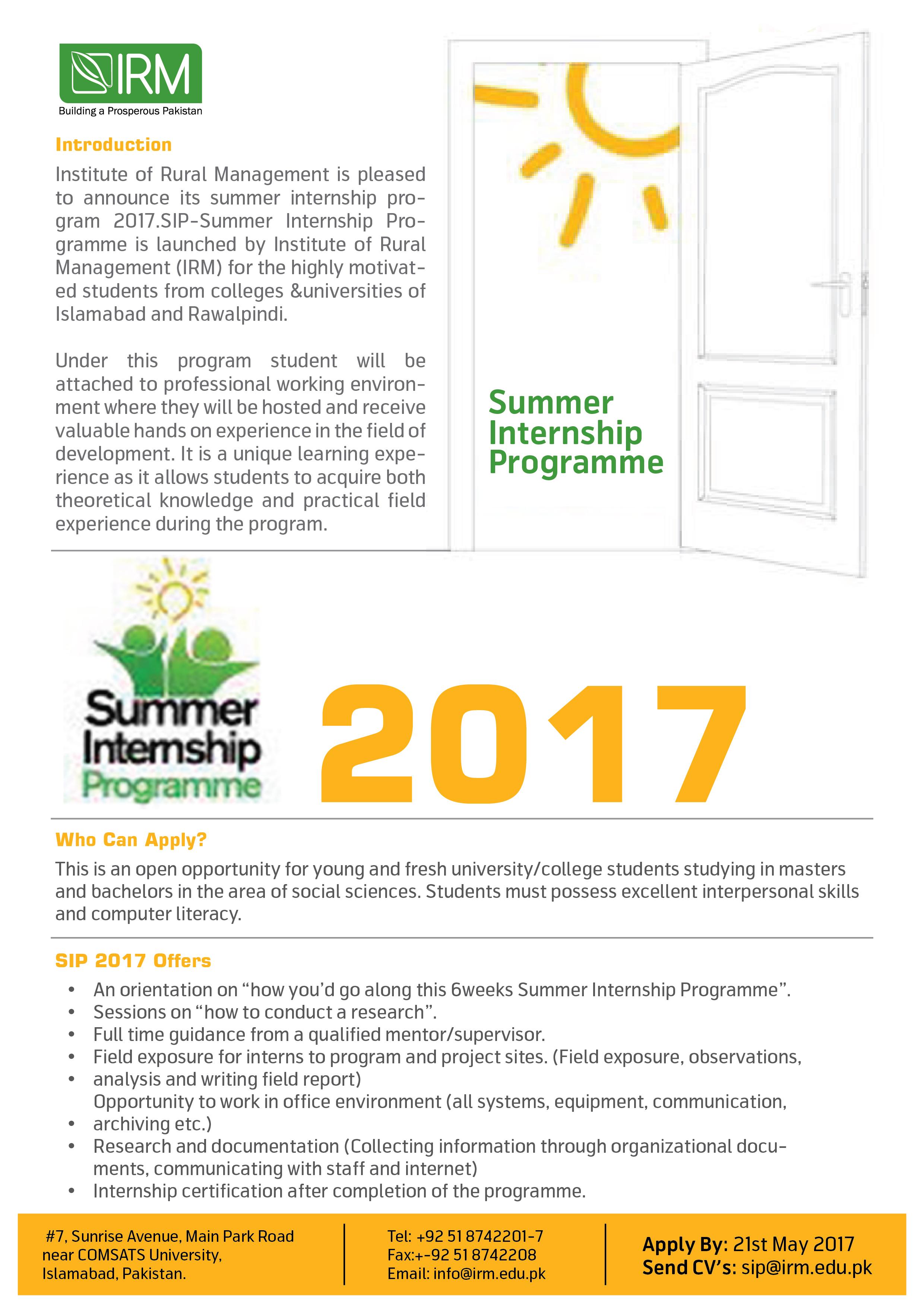Summer Internship  Student Room
